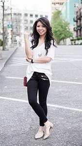 Black u0026 White Plain Tee and Zippered Jeans   Just A Tina Bit