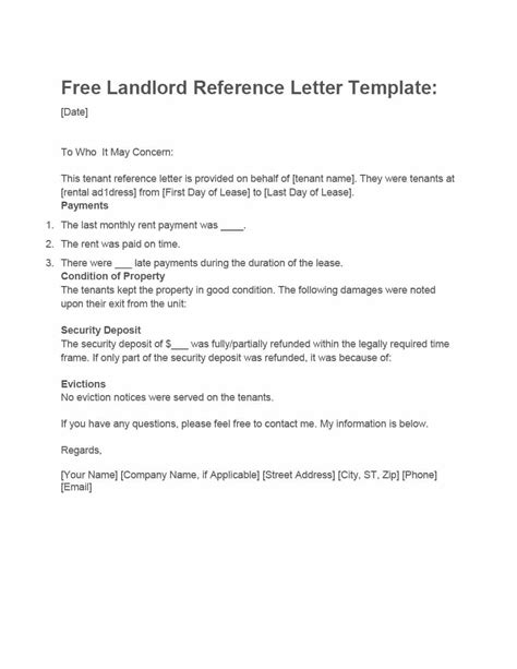 landlord reference letters form samples template lab