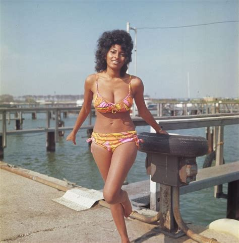 leni wesselman bikini swimsuit clad actress pam grier appears is photographed in