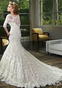 Marys bridal spring 2016 wedding dresses wedding inspirasi for Lace fit and flare wedding dress with sleeves