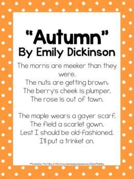 grade mini unit  ccss exemplar text autumn poem