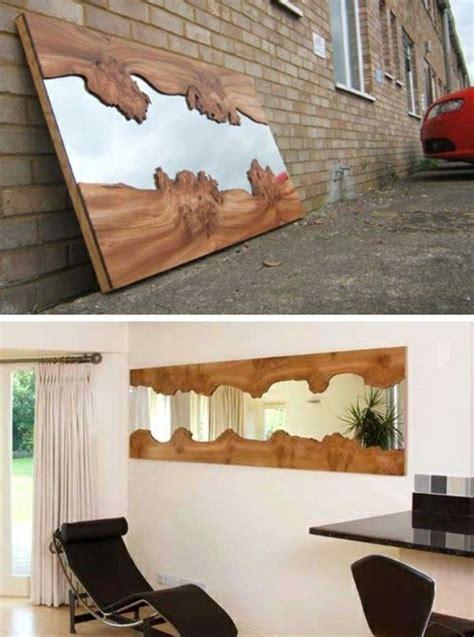 Rahmen Aus Holzscheiben Fuer Designer Spiegel by Diy Moebel Kreative Wohnideen Spiegel Mit Rahmen Aus Holz