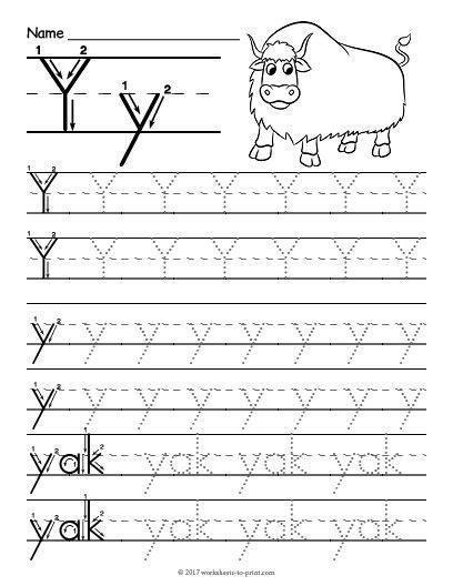 Free Printable Tracing Letter Y Worksheet  Tracing Worksheets