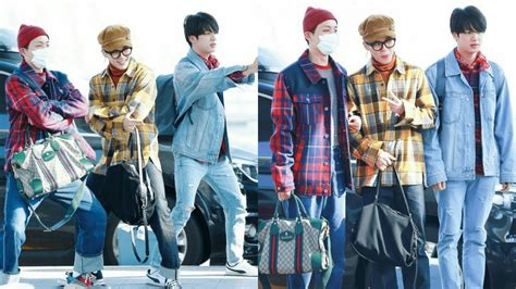 BTS Jin Jimin and J-Hopeu2019s Unusual Airport Fashion - YouTube