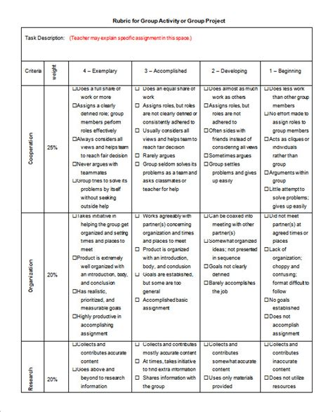 rubric template   word excel  format