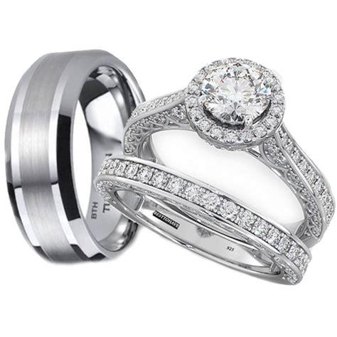 tungsten  sterling silver wedding