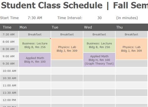 student class schedule  excel templates