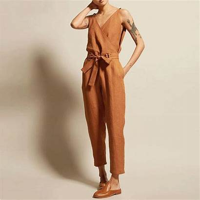 Jumpsuit Jumpsuits Neck Sleeveless Rompers Solid Pockets
