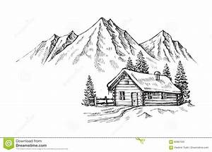 Hand Drawn Mountains Stock Vector  Illustration Of Chalet