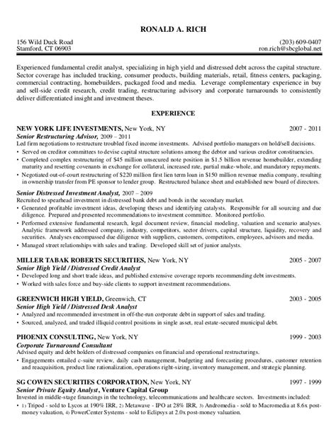 Credit Analyst Resume Template by Credit Analyst High Yield Distressed Debt