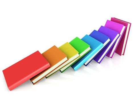 colored books aligned  domino stock photo powerpoint