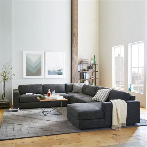 urban  piece chaise sectional charcoal heathered tweed