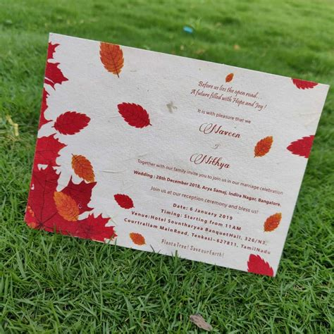 seed paper wedding invitation card autumn red