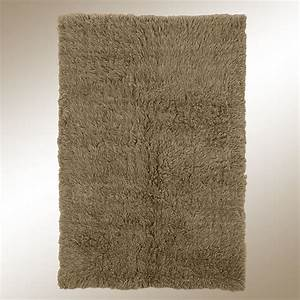 Khaki Brown Flokati Wool Shag Area Rugs