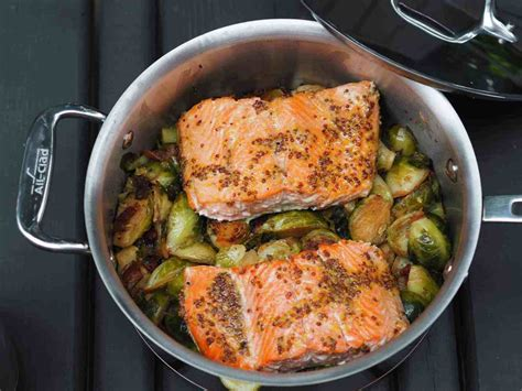 maple mustard glazed salmon  roasted maple bacon brussels sprouts recipe dianas healthy