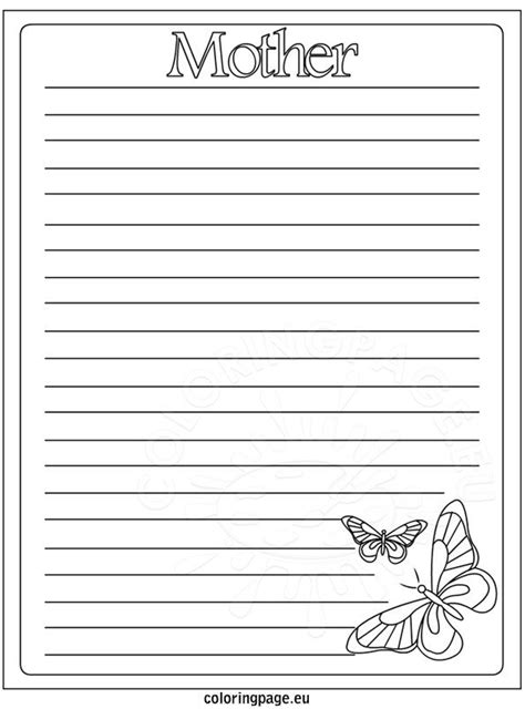 writing paper mothers day coloring page