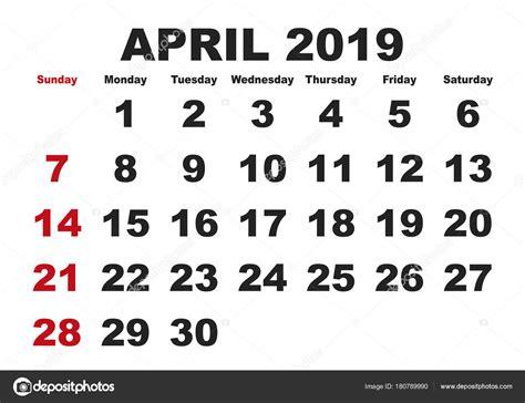 calendario mes de abril mes de abril calendario ingles usa