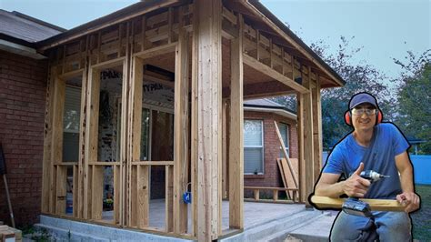 How To Enclose A Screened In Porch by How I Framed Walls To Enclose Porch Patio Vid 5