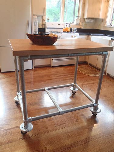 Pipe & Butcher Block Rolling Kitchen Island   Simplified