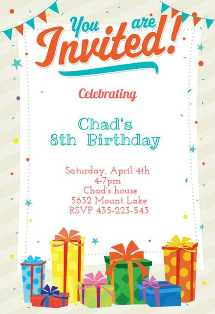 Boys Birthday Invitation Templates (Free) Greetings Island