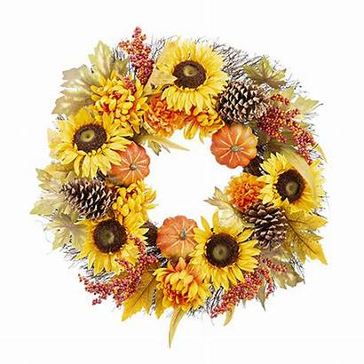 Wreath Fall Sunflower Pumpkin Mum Artificial Wreaths