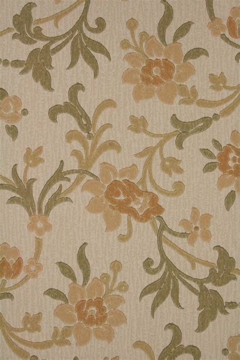 brown floral wallpaper original retro vintage 60s wallpaper