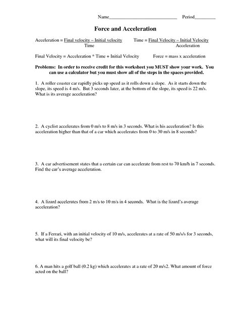 newest acceleration calculations worksheet physical