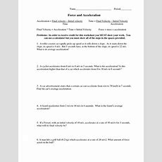 6 Best Images Of Net Force And Acceleration Worksheet  Force And Acceleration Worksheet, Net