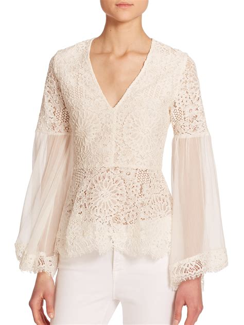 lace blouse vitor lace peasant blouse in white lyst