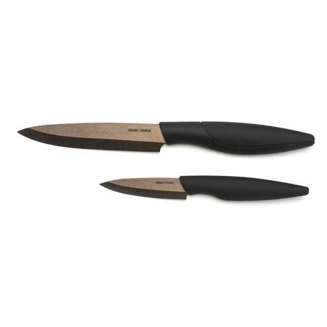 set de couteau de cuisine set de 2 couteaux de cuisine titanium céramique bronze