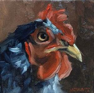 ROOSTER CHICKEN ART SMALL PAINTING ANIMAL HOME KITCHEN