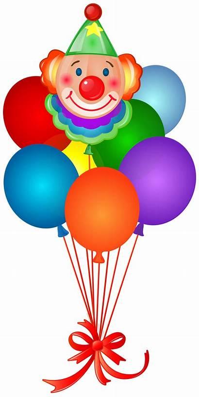 Clown Balloons Balloon Birthday Clipart Happy Clip