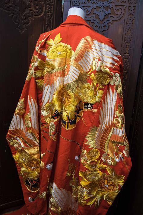 red  gold ceremonial kimono  sale  stdibs