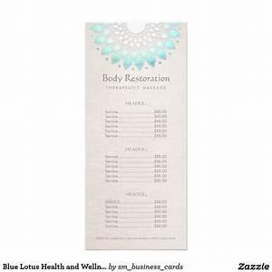 blue lotus health and wellness price list menu rack card With massage price list template