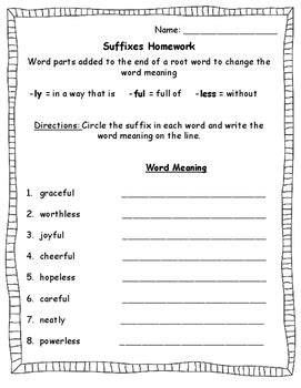 suffixes worksheet less ly and ful by colletti