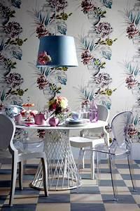 Pastel, Floral, Wallpaper, Dining, Room, Paper