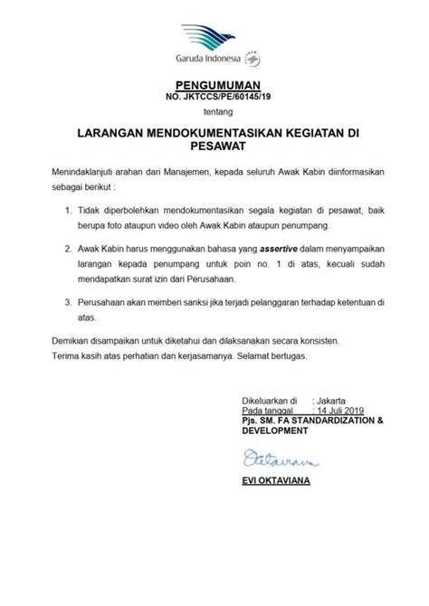 Garuda Indonesia Larang Penumpang Mengambil Foto & Video di Pesawat! - PinterPoin