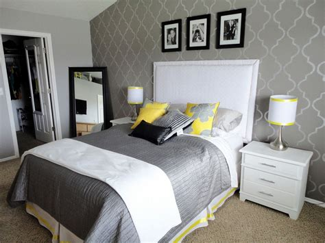 Cute White, Grey And Yellow Bedroom.