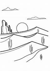 Desert Coloring Sunrise sketch template