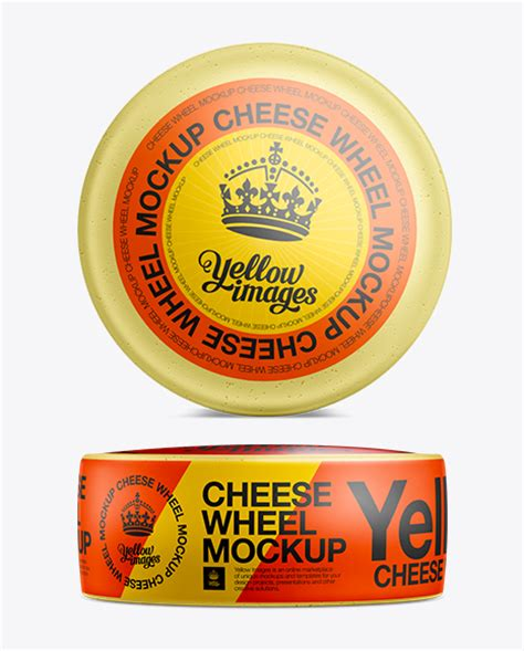 Cheese wheel with label mockup template isolated on white background, 3d illustration. Cheese Wheel Mockup in Packaging Mockups on Yellow Images ...