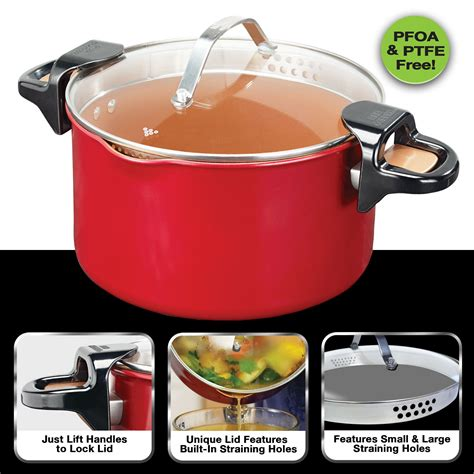red copper  pasta pot  bulbhead locking handles  straining lid gastrocoach