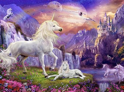fantasy wallpaper hd unicorns horse castles waterfalls