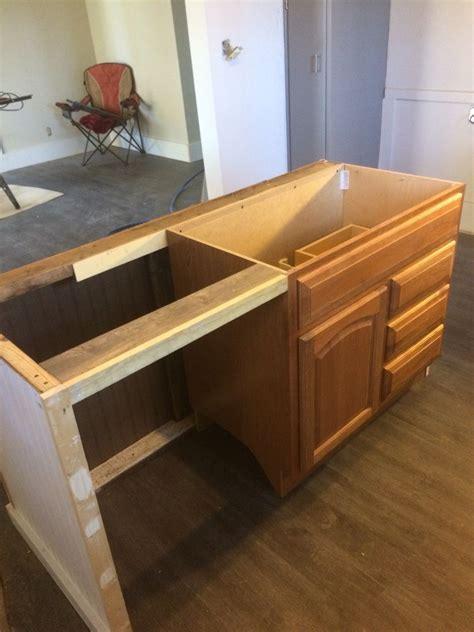 Kitchen Island Dishwasher by Kitchen Island Built From Marked Bath Vanity Cabinet