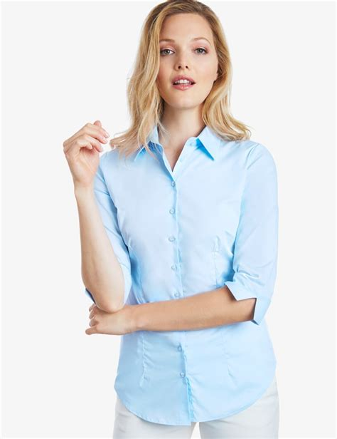 light blue blouse for women women 39 s light blue fitted three quarter sleeve cotton