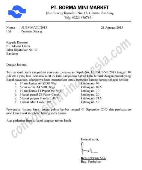 Contoh Surat Permintaan Jasa Pengiriman Barang by Contoh Surat Pesanan Barang Balasan Penawaran
