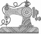 Sewing Machine Drawing Coloring Pages Mandala Zentangle Machines Mandalas Flowers Vector Drawings Adult Dibujos Ornaments Decorative Antique Adults Illustration Doodle sketch template