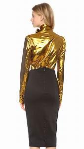 l 39 wren sleeve tie neck blouse in gold