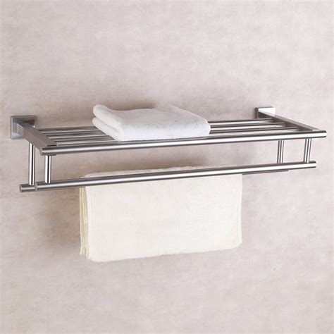 brushed finish  stainless steel bath towel rack wall