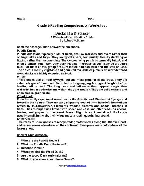 worksheet reading comprehension worksheets for 6th grade
