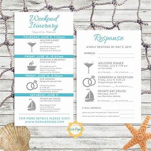 simple and modern wedding itinerary card with rsvp card With destination wedding invitations itinerary